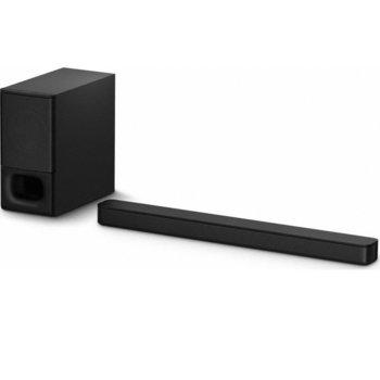 Soundbar система за домашно кино Sony HT-S350, 2.1, 320W RMS, HDMI, USB Type-A (само за актуализация), Bluetooth 5.0, черен, мощен безжичен събуфър image