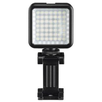 LED лампа Hama 49 BD (04641), за осветление по време на видео и фото снимки със смартфон или камера, за смартфони с ширина от 4,8 - 9,5 см, черна image