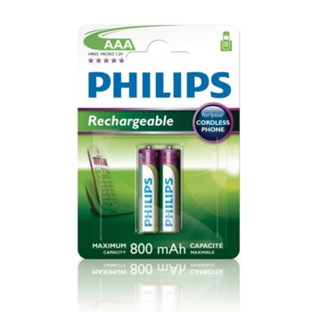 Батерии 2x Philips Rechargeable ААА, 800mAh, 1.2V image