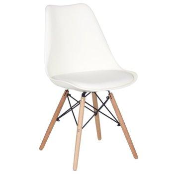 Трапезен стол Carmen 9960 S еко кожа, дървени крака, тъмно кафяв image