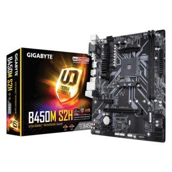 Дънна платка Gigabyte B450M S2H (rev. 1.0), B450, AM4, DDR4, PCI-E (HDMI,DVI,VGA), 4x SATA 6Gb/s, 1x M.2 connector, 2x USB 3.1, micro ATX image