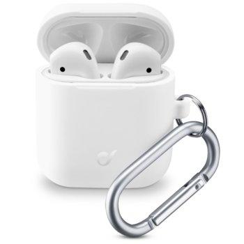 Калъф за слушалки Apple AirPods, Cellular Line Bounce, силиконов, кука за закрепване, бял image
