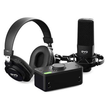 Аудио интерфейс Audient EVO 4 (AU-EVO4) в комплект със слушалки за мониторинг EVO SR2000, кондензаторен микрофон EVO SR1, стойка за микрофон EVO Shockmount, и балансиран XLR кабел за връзка между интерфейса и микрофона (AU-EVO-SRB), черни image