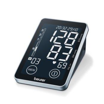 Апарат за кръвно налягане Beurer , USB, голям дисплей, индикатор за аритмия, сензорни бутони, черен image