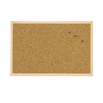 Коркова дъска, с дървена рамка, размер 400x600 mm, кафява image