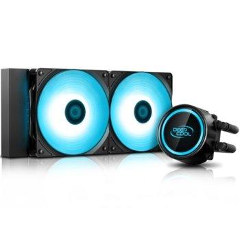 Водно охлаждане за процесор DeepCool GAMMAXX L240T BLUE, съвместимост със Intel LGA2066, LGA2011-v3, LGA2011, LGA1151, LGA1155, LGA1156, LGA1366, LGA775, LGA1150 & AMD AM4, AM3+, AM3, AM2+, FM2+, FM2, FM1 image