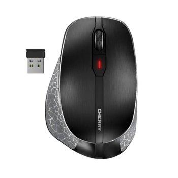 Мишка Cherry MW 8 Ergo, оптична (3200dpi), безжична (Bluetooth 4.0 & 2.4GHz), USB, черна, вградена батерия с LED индикатор image