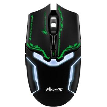 Мишка Dragon War Ares G10, оптична (3200 dpi), USB, черна, гейминг, 8 програмируеми бутона image