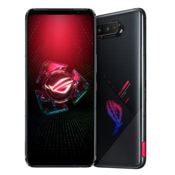 """Смартфон Asus ROG Phone 5 (черен), поддържа 2 SIM карти, 6.78"""" (17.22 cm) WQXGA AMOLED 144Hz дисплей, осемядрен Snapdragon 888 5G 2.84 GHz, 12GB RAM, 256GB Flash памет, 64.0 + 13.0 + 5.0 & 24.0 MPix камера, Android, 238g image"""