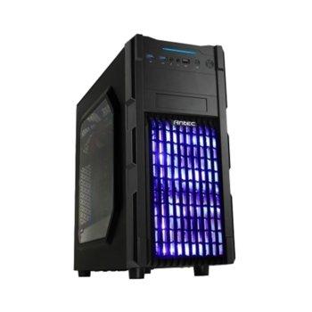 Кутия Antec GX200 Blue, ATX/mATX/miniITX, 2x USB 3.0, страничен прозорец, синя подсветка, черна, без захранване image