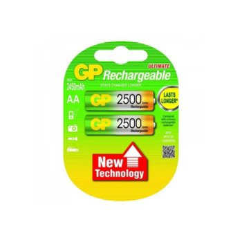 Акумулаторна батерия GP 2500AAHC-2UEC2, AA, 1.2V, 2450mAh, NiMH, 2бр. image