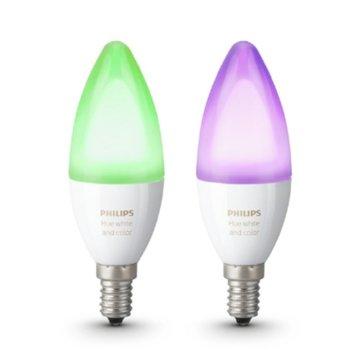 Смарт крушка Philips Hue 871869669524100, Wi-fi, 6.5W, формат B39, E14, 2200-6500K, димираща, 16 милиона цвята, 2бр. image