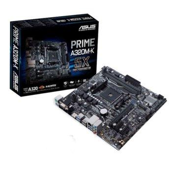 Дънна платка ASUS PRIME A320M-K, A320, AMD AM4, DDR4, PCI-E(DVI,VGA), 4x SATA 6Gb/s, 1x M.2 слот, 4 x USB 3.1 Gen 1 image