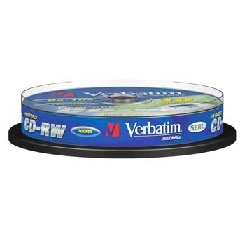 Оптичен носител CD-RW, 700MB, Verbatim, 52x, 10 бр. image