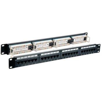 "Пач панел EFB Elektronik, 24x порта, 19"", 1U, екраниран, Cat.5e, TIA/EIA 568A/B, UTP, черен image"