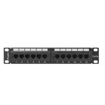 """Пач панел Lanberg PPU5-9012-B, 12x порта, 10"""", 1U, Cat.5e, IDC T568A/T568B, черен image"""