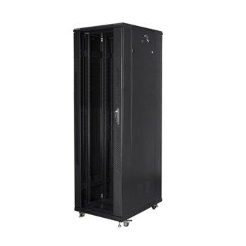 """Комуникационен шкаф Lanberg FF01-8842-12B, 19"""", 42U, 800 x 800 x 2047.5, стъклена врата, черен image"""