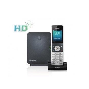 "VoIP телефон Yealink W60P, 2.4"" (6.10 cm) цветен дисплей, 5 SIP акаунта, PoE, 10/100M, черен image"