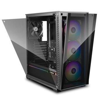 Кутия Deep Cool MATREXX 70 ADD-RGB 3F, E-ATX/ATX/mATX/Mini-ITX, 2x USB 3.0, 3x 120mm ADD-RGB вентилатора, страничен прозорец, подсветка, черна, без захранване image