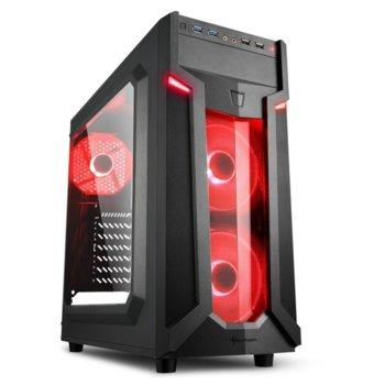Кутия Sharkoon Middle VG6-W RED Led, ATX/Mini ITX/Micro-ATX, 2x USB 3.0, 2x USB 2.0, прозорец, 2x вентилатора отпред, 1х вентиалтор отзад, черна, с червена LED подсветка, без захранване image