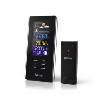 Електронна метеостанция Hama Color Edge, термометър, хигрометър, барометър, аларма, черна image