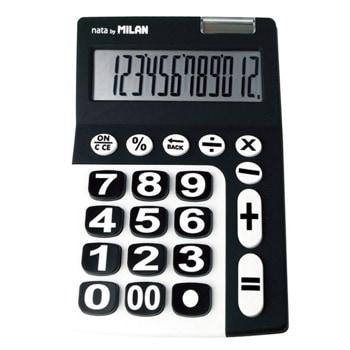 Калкулатор Milan, 12 разряден дисплей, настолен, бутон за изчистване на въведените данни, автоматично изключване след употреба, черен image