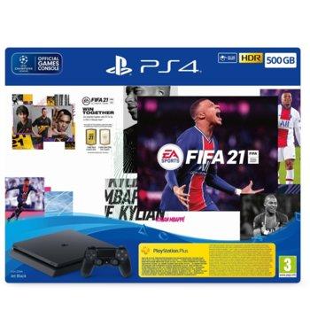 Конзола Sony PlayStation 4 Slim 500GB в комплект с FIFA 21, черна image