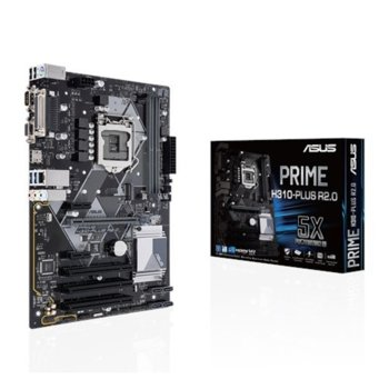 Дънна платка ASUS PRIME H310-PLUS R2.0 (90MB0ZV0-M0EAY0), H310, LGA1151, DDR4, PCI-E(HDMI&D-Sub), 4x SATA 6Gb/s, 1x M.2 Socket, 2 x USB 3.1 Gen 1 Type-A up to 5Gbps, ATX image