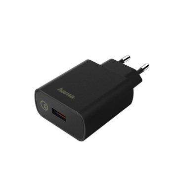 Зарядно устройство HAMA Qualcomm Quick Charge 3.0 178238, от контакт към 1x USB-A(ж), 3,6-6,5V/ 3A & 12V/1.5A, QC3.0, черен image