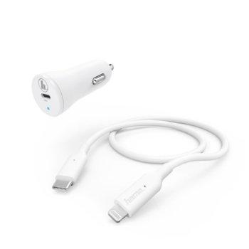 Зарядно устройство Hama 183297, от авт. запалка към USB-C (ж), в коплект с кабел USB C (м) към Lightning (м), 5V/9V, 18W/3A image