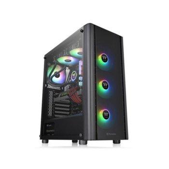 Кутия Thermaltake V250 TG ARGB, ATX/microATX/miniITX, 1x USB 3.0, 2x USB 2.0, 3x вградени ARGB вентилатора, черна, без захранване image