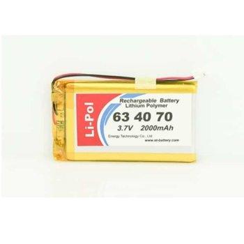 Литиева батерия LP634070-PCM, 3.7V, 2000mAh, Li-polymer, 1бр., PCM защита image