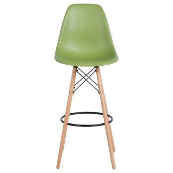 Бар стол Carmen 3079, полипропилен, дървена база, зелен image