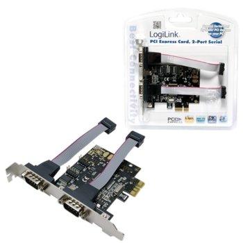 Контролер LogiLink PC0031, от PCIe x1(м) към 2x Serial(RS232)(м) image