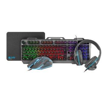 Комплект клавиатура/мишка/пад и слушалки Fury Thinderjet Gaming Combo NFU-1217, гейминг, оптична мишка (2400 dpi), микрофон, подсветка, черни, USB image