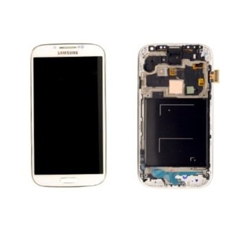 Дисплей за Samsung Galaxy i9500 S4, с тъч и рамка, бял, оригинален image