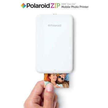 """Мобилен принтер Polaroid ZIP, мастиленоструен, Standard micro USB, (500 mAh) батерия несменяема ,2x3"""" full-color prints, бял image"""