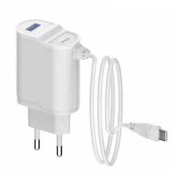 Зарядно устройство PZX C892E Type C, от контакт към USB A(ж)/1x USB C кабел(м), 5V, 2.1A, бяло image