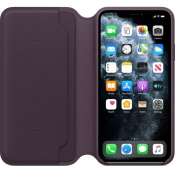 Kалъф за Apple iPhone 11 Pro Max, Apple Leather Folio (Seasonal Autumn 2019), flip wallet, кожен, лилав image