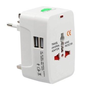 Адаптер 17708, 1 гнездо, от EU/US/UK/AU към EU/US/UK/AU, 2x USB Type A, бял image