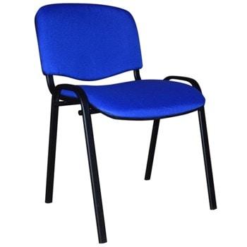 Посетителски стол ISO Black, до 120кг, дамаска, метална база, син image