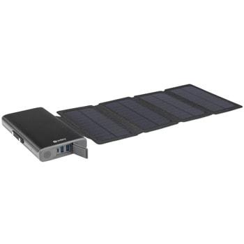 Външна батерия/power bank/ Sandberg Solar 4-Panel Powerbank 25000 (420-56), 25 000mAh, черна, вграден соларен панел, IPX4 защита, 1x USB-C, 2x USB-A image