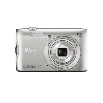 """Фотоапарат Nikon CoolPix A300 (сребрист) в комплект с калъф Case Logic и карта 8 GB, 8x Zoom, 20,1 Mpix, 2.7"""" (6.8 cm) LCD, Wi-Fi, micro USB, SDXC слот image"""