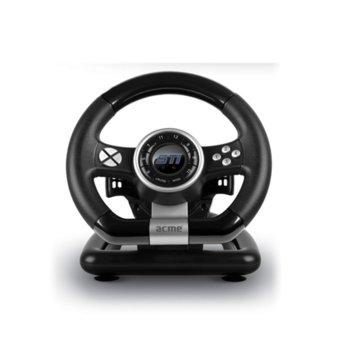 Волан с педали Acme STi, 180 градуса на въртене, USB, вибрация, за PC, черни  image