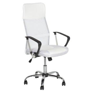 Офис стол Carmen 6083, еко кожа, регулируем люлеещ механизъм, бял image