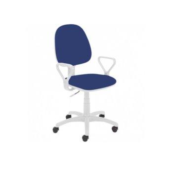 Офис стол REGAL WHITE GTP, дамаска, подлакътници, регулиране височина, газов амортиьор, син image