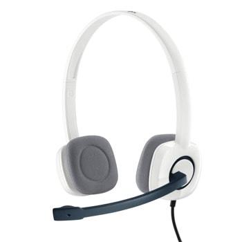 Слушалки Logitech Stereo H150, микрофон, бели image