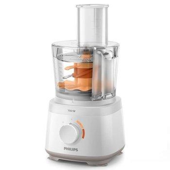 Кухненски робот Philips HR7320/00, 700W, 2 + импулсен режим настройки на скоростта, инструмент за месене, диск за емулгиране, 2.1L купа, 1L кана, бял image