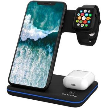 Докинг станция Canyon WS-303 3in1, от контакт към безжично зареждане на iPhone, Apple Watch и Apple AirPods, черна image