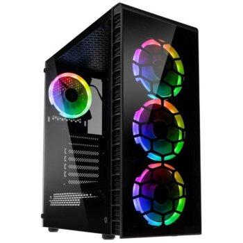 Кутия Kolink Observatory Lite RGB, ATX/Micro ATX/Mini ITX, 1x USB 3.0, 2x USB 2.0, черна, закалено стъкло, RGB подсветка, без захранване image